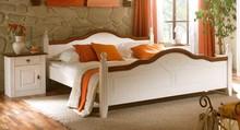 Łóżko WALES białe z elementami orzecha