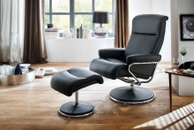 Fotel telewizyjny DENLEY skóra z podnóżkiem