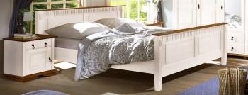 Łóżko VALENCIA białe z elementem miodowym