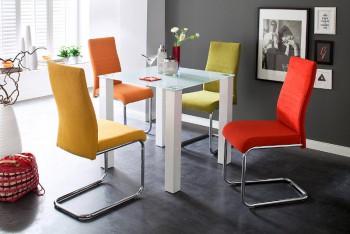 Stół szklany NANA: 80cm + krzesła FINLAY