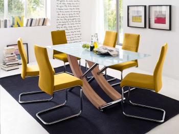 Stół szklany MEA  dąb sonoma + krzesła FINLAY